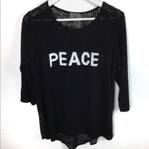 """70s Vibes """" PEACE """" Black Knit Lightweight Sweater"""